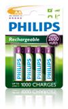 BATTERIE Ricaricabile Philips AA NiMH 2600 mAh (Stilo Multilife AA Blister 4Pz)