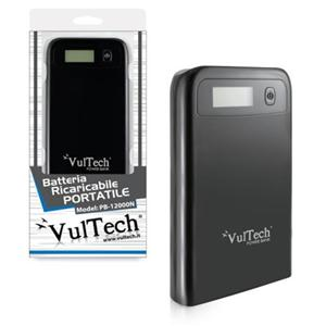 Power Bank Batteria Ricaricabile Vultech PB-12000N Nero 12000Mah 1A 2.1A 2 USB con display LCD