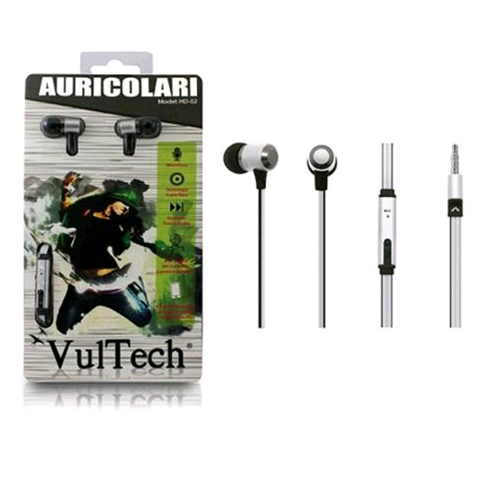 Auricolari Earphones Vultech HD-02W Silver Super Bass in Metallo Con Microfono