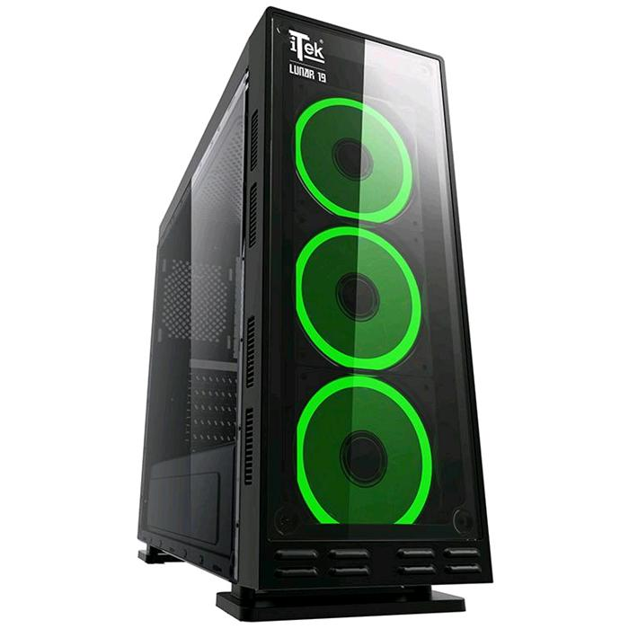 CASE LUNAR 19 - Gaming Middle Tower, USB3, 3x12cm RGB fan (con telecomando), Trasp Wind XL, Front Panel Temp Glass